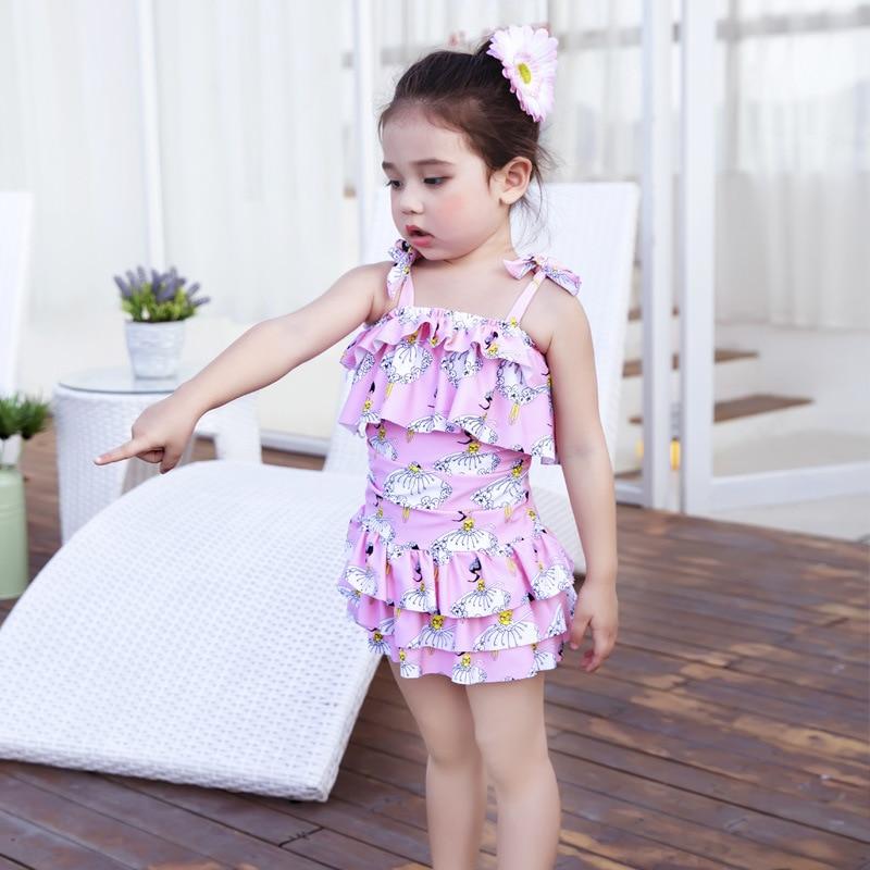 Kids Swimwear For Girls Children Swimsuit Baby Girl Swimming Suit Child Bikini 2017 New Printed Multilayer Dress Biquinis Cocuk