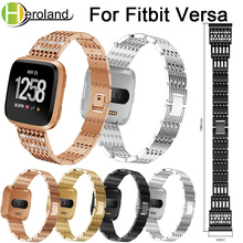 Stainless Steel Watch Band For Fitbit Versa band metal Smart Strap Wrist Band Replacement Crystal bracelet 2018 new Accessories accessories stainless steel bracelet replacement watchbands for fitbit versa smart band metal strap wrist band with diamond new