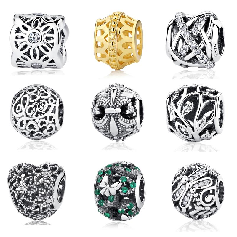 Authentic Silver Bead Charm Daisy Heart Love Grass Butterfly Openwork Charm Beads Fit Pandora Bracelets & Bangles DIY Jewelry