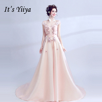 It's Yiiya Prom Dresses Girls V Neck Pearls Flower Lace Up Prom Gowns Embroidery Party Dresses Formal Dresses LX895