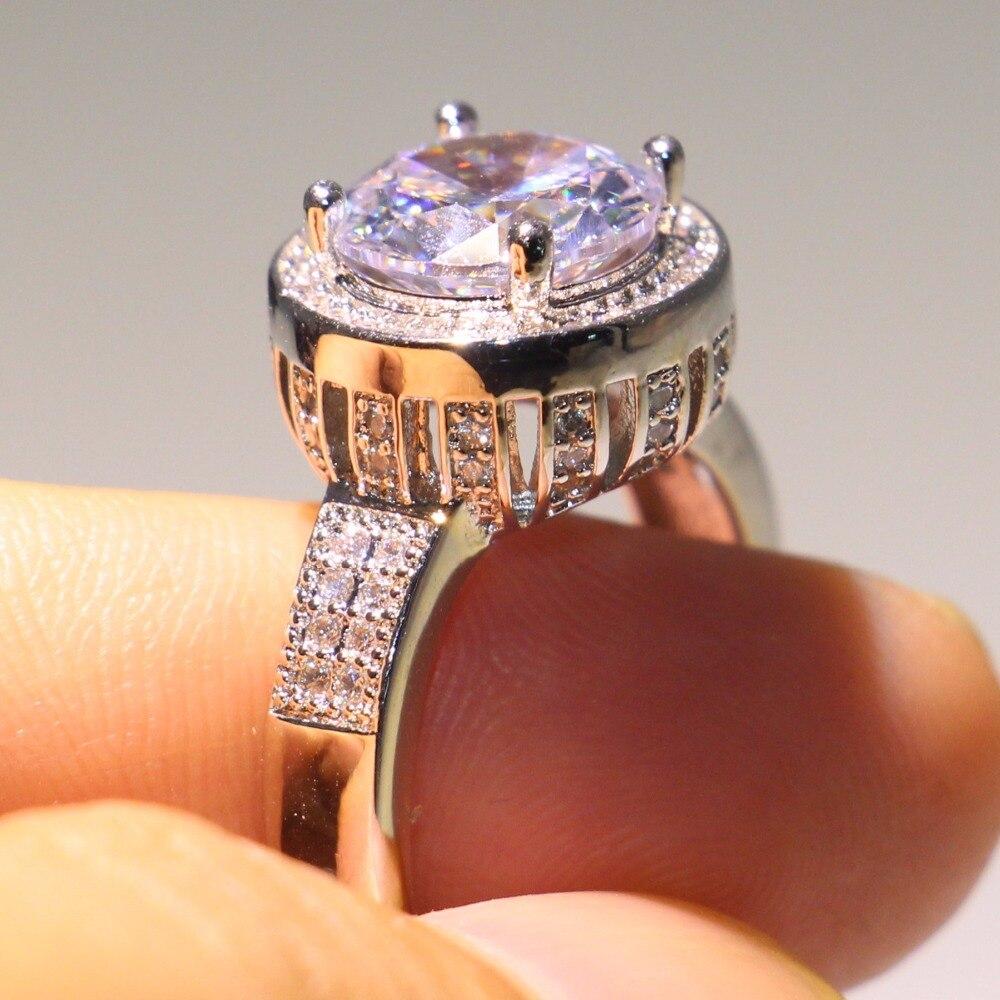 Anneau de mariage couronne éblouissante anneau rond 5A zircon cubique Pave CZ 925 argent Sterling promesse bijoux bague pour les femmes - 6