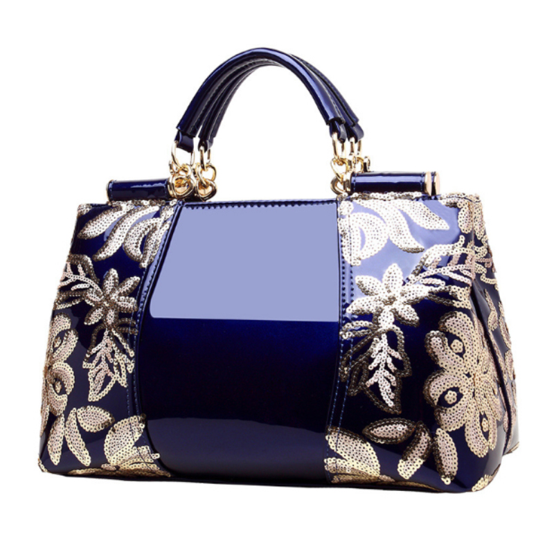 Homeda Women Luxury Embroidery Handbag Designer High Quality Patent Leather Vintage Flowers Ladies Shoulder Bag Tote sac a main