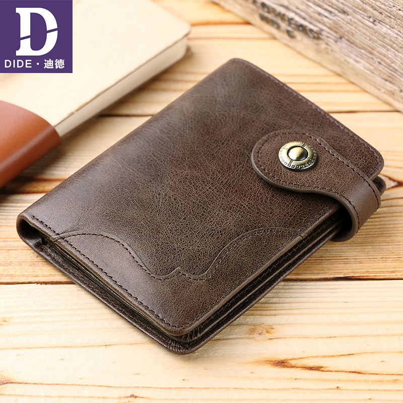 DIDE Genuine Leather Wallet Male Small Portomonee Coin Purse Pockets Slim Rfid casual Mini Walet Card Holder Short Wallet men williampolo mens mini wallet black purse card holder genuine leather slim wallet men small purse short bifold cowhide 2 fold bag
