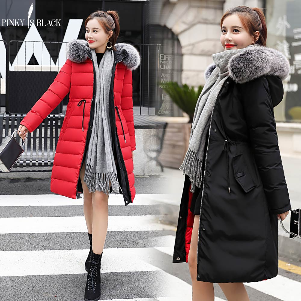 PinkyIsBlack Winter Jacket Women Long Parkas New 2018 Warm Two Sides Wear Down Cotton Artificial Fur Collar Women's Coat Jacket