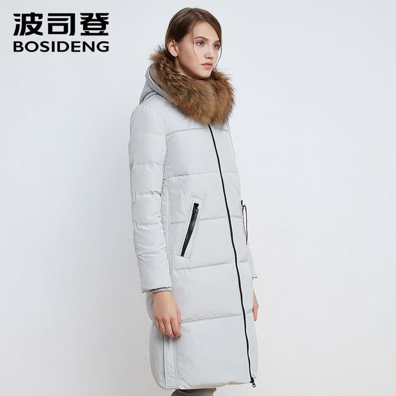6e789a9f02c1 BOSIDENG 2018 women down coat winter thick down jacket warm parka real  raccoon fur collar solid