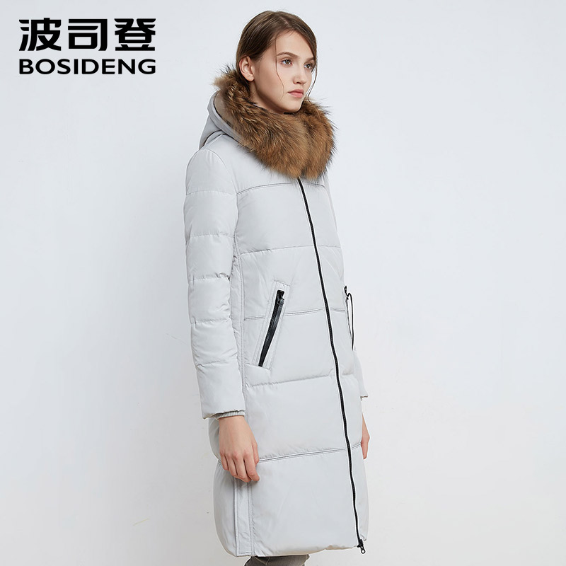 BOSIDENG 2017 new women down coat winter thick down jacket warm parka real raccoon fur collar solid color Long B1601270 s xl thick warm long women winter coat 2016 fashion down coat with hoodies long sleeve white parka solid color