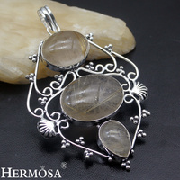Beautiful Christmas Gift Natural Gold Lace Rutiled Quartz 925 Sterling Silver Necklace Pendant Handmade Retro Jewelry
