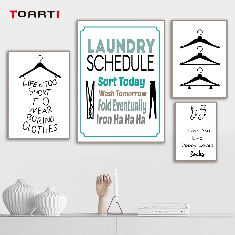 Modern Clothespin Hangers Socks Quotes Posters Prints Funny Canvas Painting On The Wall Art Pictures For Laundry Room Home Deco (1)