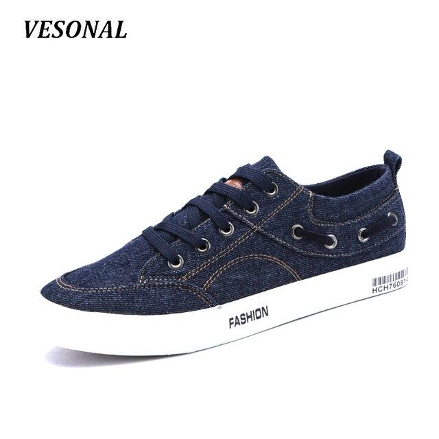 4c30d71ab4abe VESONAL Otoño Denim Lienzo Hombres Zapatos Casual Low Top Calzado de Moda de  La Personalidad Masculina