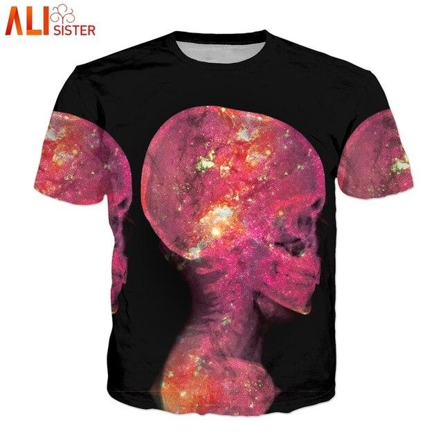 9784bf64329 Alisister Alien T Shirt Skull Print Cool Men Women Summer T-shirts Plus  Size Short Sleeve Black Tee Tops Femme Homme Clothing