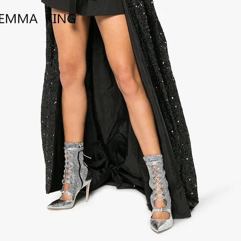 Mujer Punta El Estilete Estrecha Cremallera Picture As Elegantes Los Botas De Diseño La Zapatos Hebilla Las Patchwork En Altos Tacones Nuevo Del Mujeres Sexy Lateral Tobillo qY1gwt