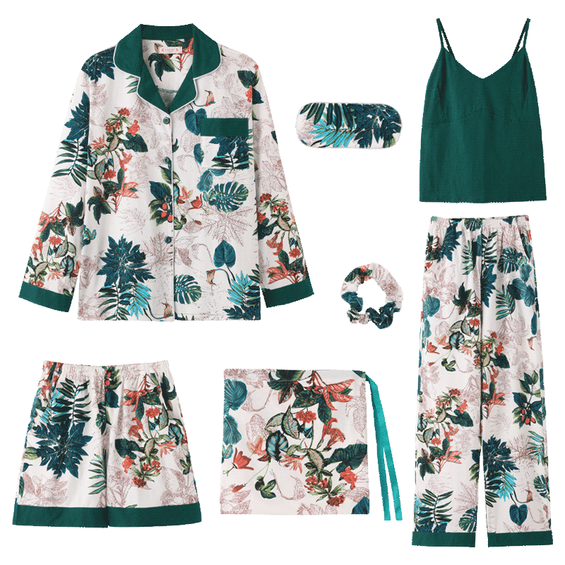 Spring Summer 7 Pieces Pyjama Set Women Sleepwear Suit Long Sleeve Tops Pants Shorts Home Wear Female Night Pijama Mujer