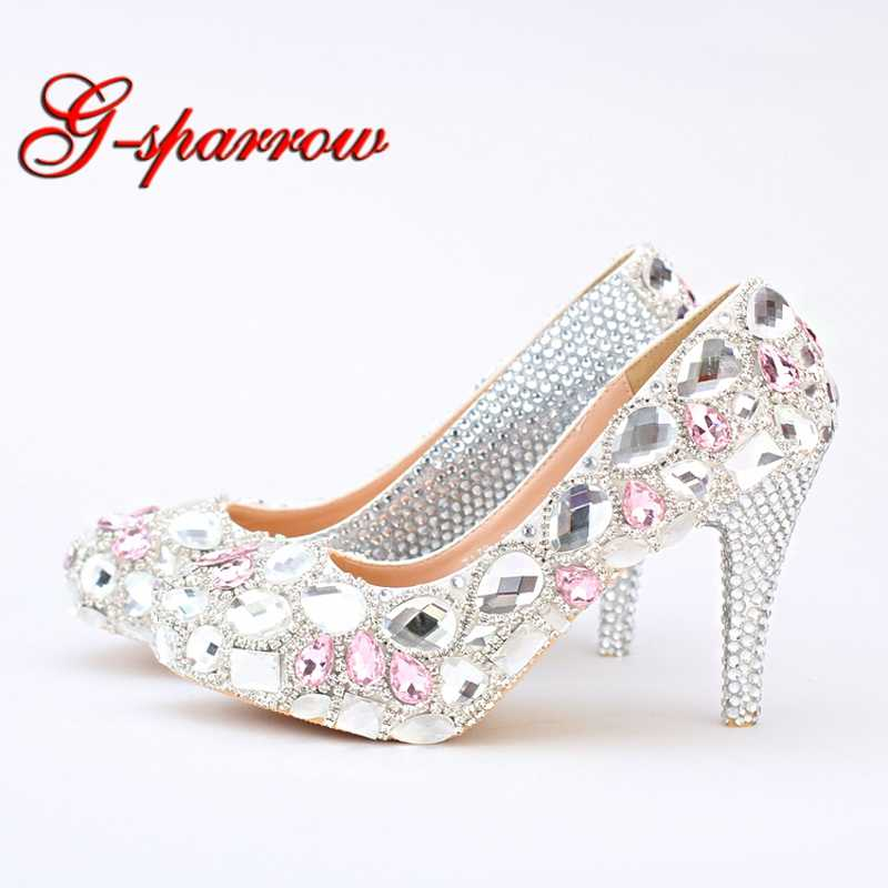 Silver Rhinestone Wedding Shoes Handmade Bridal Shoes Pink Crystal Platform Prom Shoes Graduation Party High Heels Plus Size 12