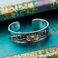 Folha de lótus de alta qualidade Thai Prata retro pulseira de prata feminino masculino modelo preto da flor de lótus pulseira populares presentes Bijoux