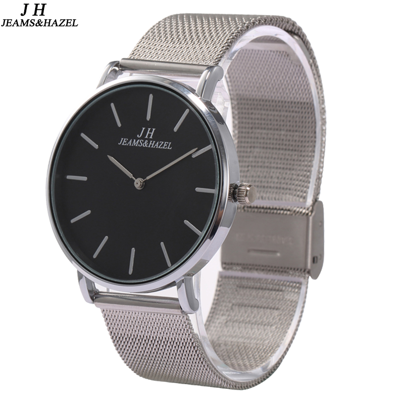 new brand JEAMS HAZEL waterproof mesh strap watches Men rose gold stainless steel bracelet wrist watch