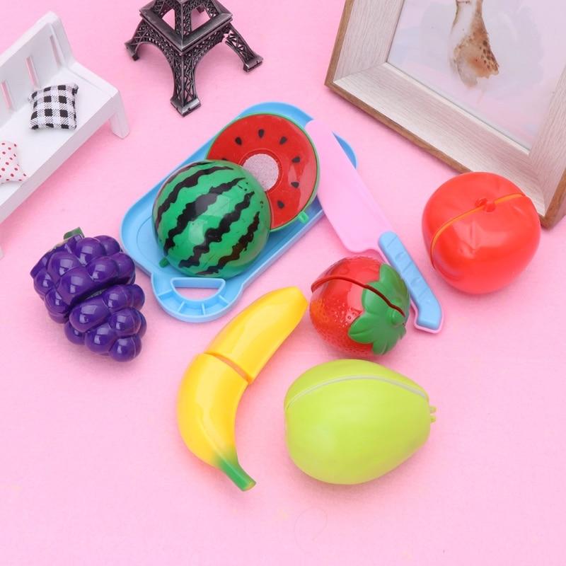 HBB 8Pcs Plastic Kitchen Fruit Vegetable Cutting Pretend Role Play Set Children Kids Toy Gift