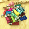Mix Colors Small Size 35mm Suede Leather Cord Jewelry Fnding Tassels Free Shipping 10pcs/lot Silver Cap Tassel Charm