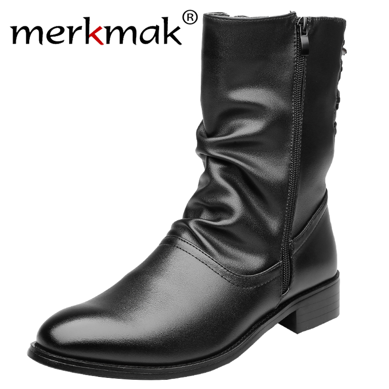 Merkmak Brand Genuine Leather Boots For Men Pointed Toe Breathable Soft Shoes Fashion Vintage Casual Flats Autumn Winter