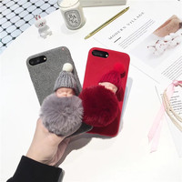 Merry Christmas 3D Cute Baby Hat Hair Velvet Mobile Phone Cases For iPhone6 6S 6Plus Plastic Protective Shell Coque Funda Covers