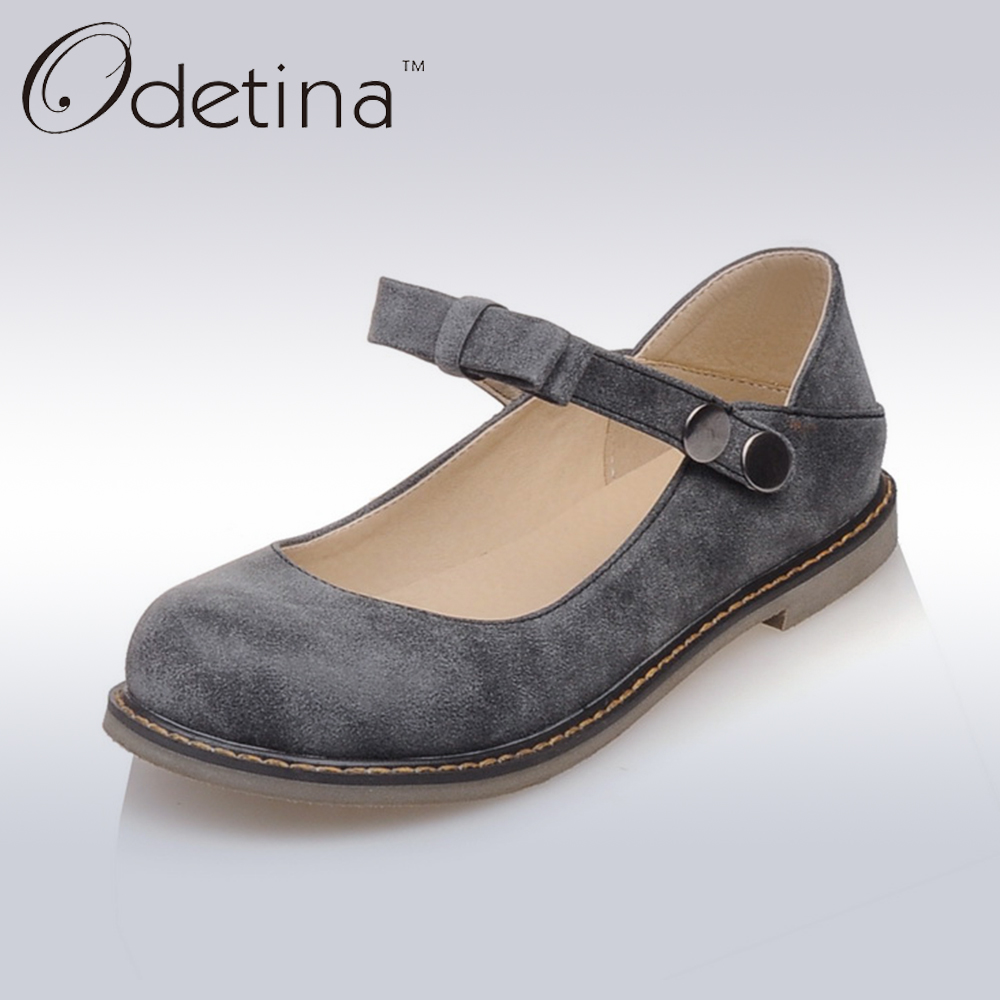Odetina 2017 Fashion Mary Jane Flats Big Size For Women Round Toe Buckle Strap Comfortable Sweet Ladies Casual Flats Bowknots mary sterling jane algebra ii essentials for dummies