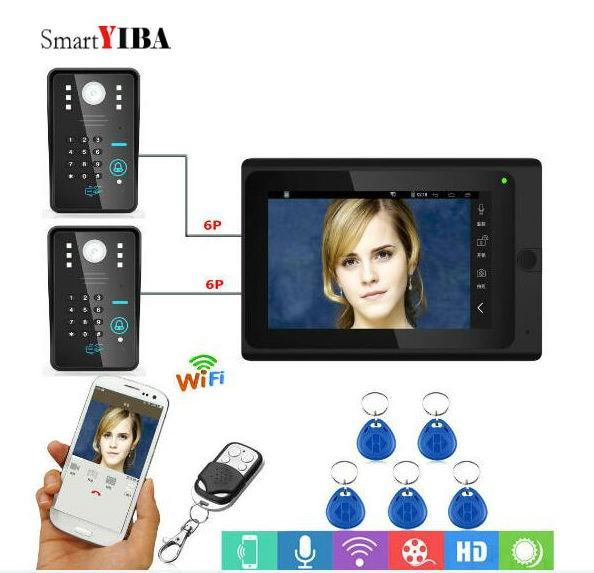 SmartYIBA 7 Inch Wifi Doorbell Door Intercom Wifi RFID Password Video Door Phone Android IOS APP Remote Control Door Camera