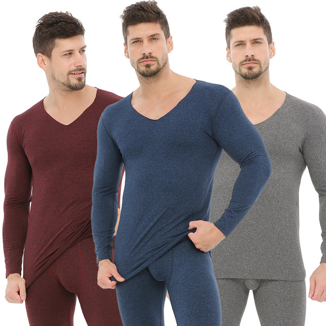Winter Warm Long Johns Men Thermal Underwear Sets Cotton Undershirt Tops and Botton Sleep 2 Piece Suits Clothing Male Plus Size(China)