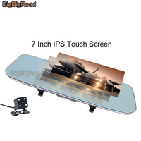 BigBigRoad For Morris Garages MG 3 3SW 6 GS GT ZS MG5 MG7 Car DVR 7 Inch Touch Screen Rear View Mirror Dash Cam Video Recorder