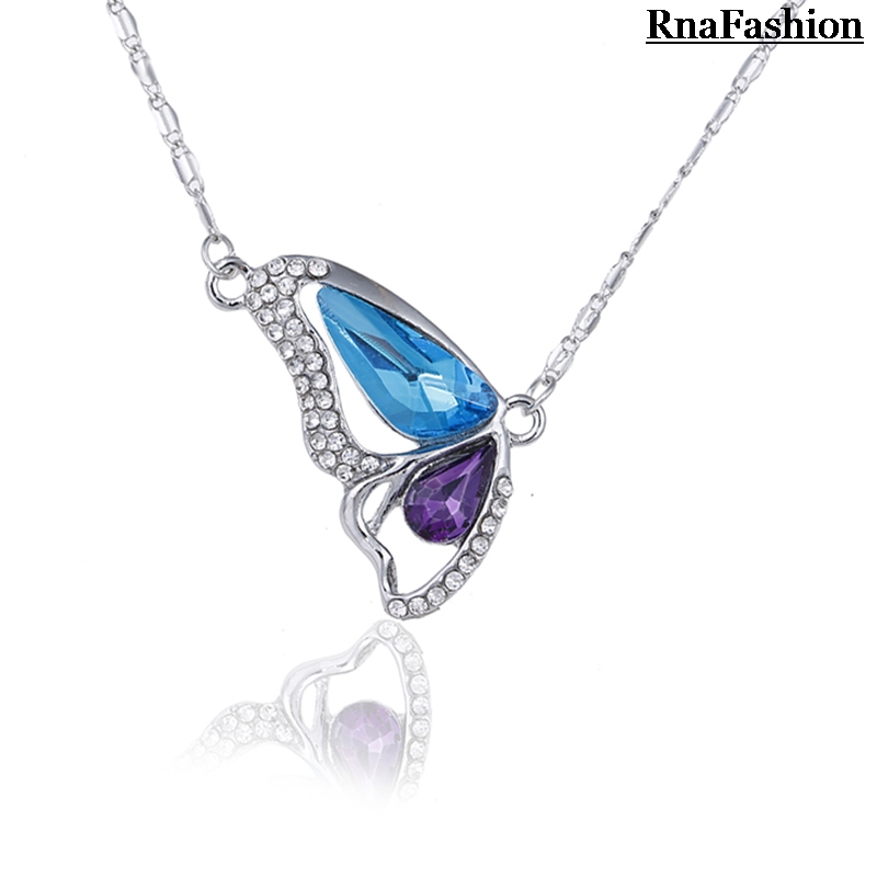 New 2014 Fashion Elegant Butterfly Crystal Pendants Necklaces Silver Plated Female Short Design Link Chain Necklace