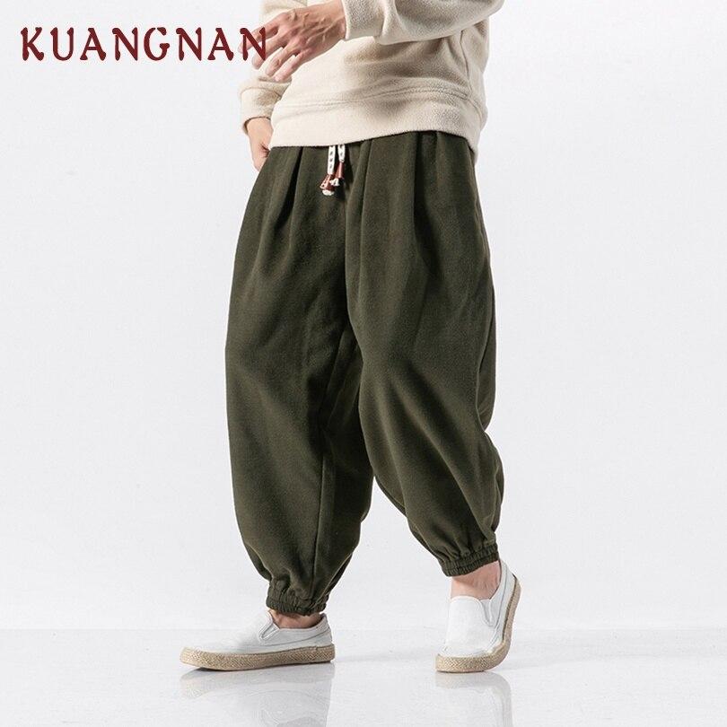 KUANGNAN estilo chino grueso Harem pantalones hombres Joggers peso pesado Hip Hop pantalones hombres Pantalones deportivos pantalones hombres Pantalones Casual 2018 nuevo