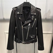 Spring Women Sheepskin Genuine Leather Jackets New Fashion Black Long Sleeve Motorcycle Jacket Real Sheep Leather Jacket Coat