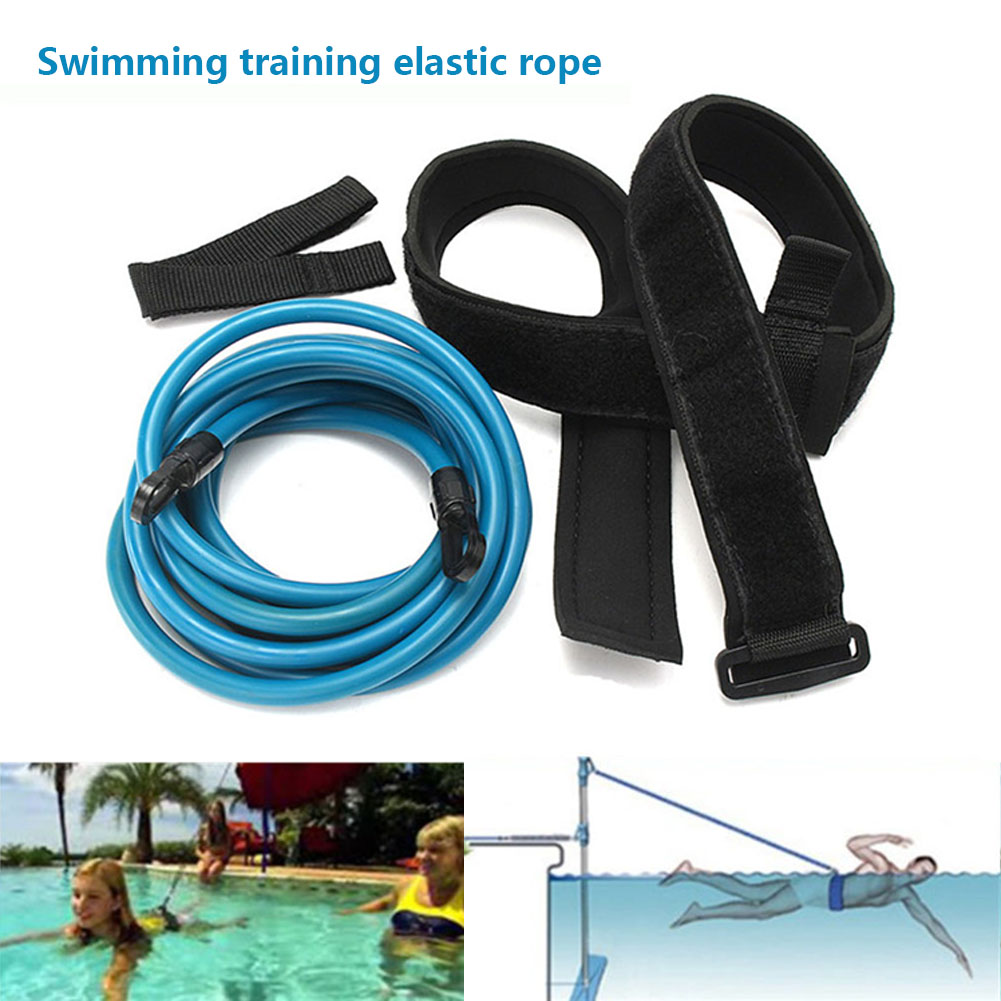Swimming Training Elastic Rope Adult Kids 4m Swimming Bungee Exerciser Leash Cord Training Rope Hip Swim Belt Safety Pool bungee cord swimming
