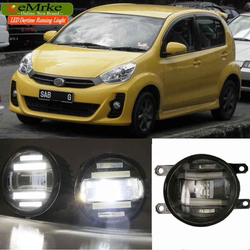eeMrke Xenon White High Power 2in1 LED DRL Projector Fog Lamp With Lens For Perodua Myvi 2011-2014