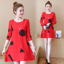 5XL Print Dress Women 2019 Spring New Dresses Long Sleeve O-neck Bodycon Plus Size Teenage Casual