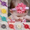 Moda niño del bebé infantil elástico pluma Hairband de las vendas del pelo banda accesorios de la flor