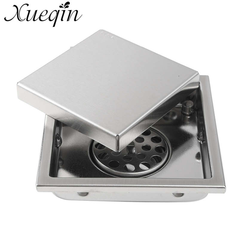 Xueqin Stainless Steel Square Invisible Anti-odor Bathroom Floor Drain Waste Grate Tile Insert Bathtub Shower Drainer Strainer  anti odor bathtub shower drainer floor strainer 10x10cm 304 stainless steel square invisible bathroom floor drain waste grate