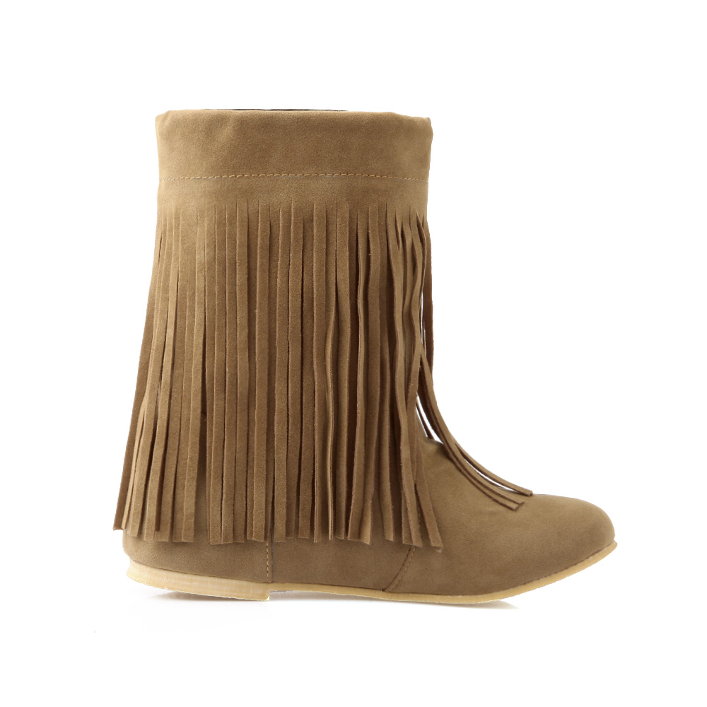 Brand New Hot College Black Yellow Flat Women Mid Calf Fringe Boots Ladies Winter Shoes Tassel A4-9 Plus Big Size 10 11 33 43 45