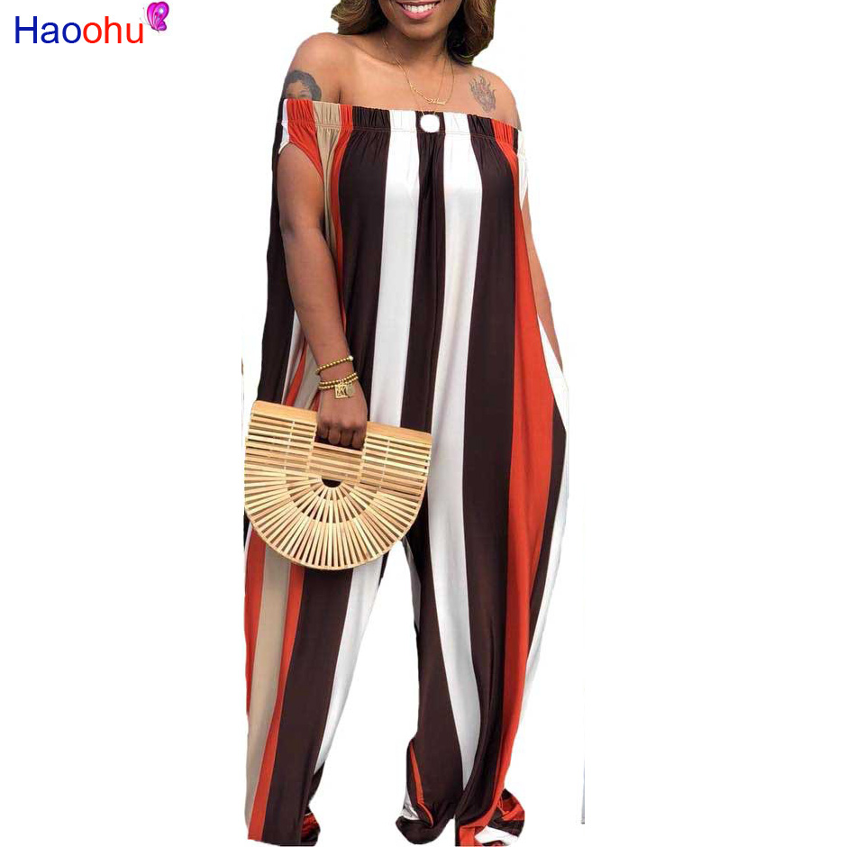 7546f9d250ee HAOOHU Off Shoulder Sexy Overalls Womens Summer Slash Neck One Piece Wide  Leg Rompers Casual Loose Stripe Print -in Dresses from Women s Clothing on  ...