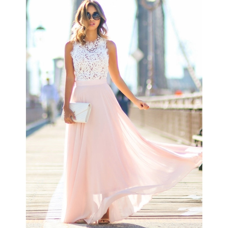2018 Elegant Flower Maxi Lace Dress