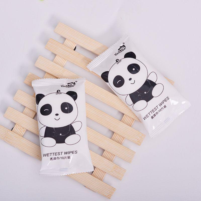 10 шт./пакет креативные носки для малышей с милым рисунком панды печатных флип-топ влажные салфетки для удаления маленьких одноразовые дыхательные аппараты для взрослых; очистки ткани Полотенца индивидуальному