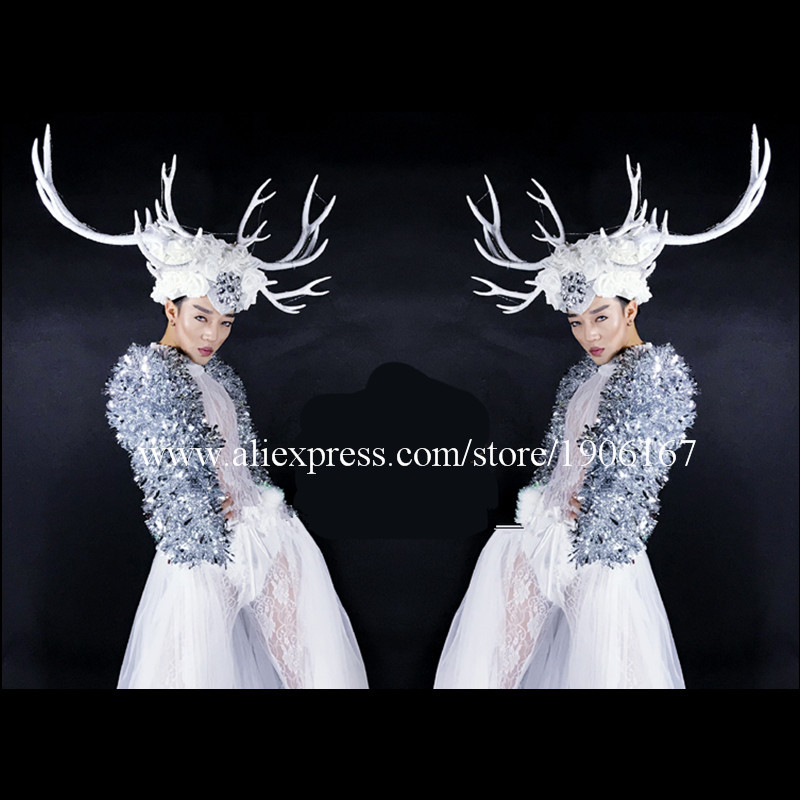 DS dance team Christmas white costumes large antlers LED headwear costumes05