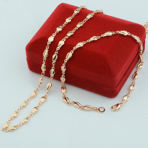 1 Set 4mm Rose Plant Woman Girls Gift 585 Rose Gold Color Set Jewelry Bracelet Necklace(NO red box)(China)
