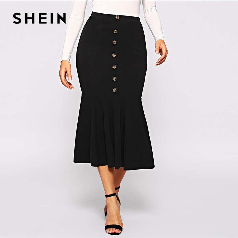 SHEIN Black Elegant Button Front Ruffle Fishtail Hem Long Skirt Women Spring Mid Waist Solid Mermaid Workwear Bodycon Skirts
