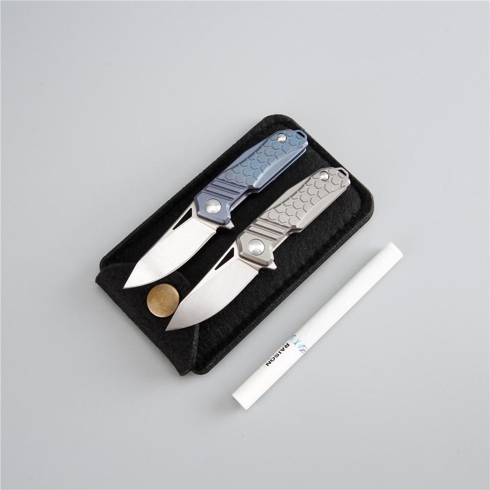 цена Edc mini knife m390 steel folding blade cnc titanium handle key pocket camping outdoor knife 60 hrc survival knifes tools