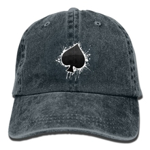 a703ed655dab35 Unisex Adult Poker Ace Of Spades Dyed Washed Cotton Denim Baseball Cap Hat (China)