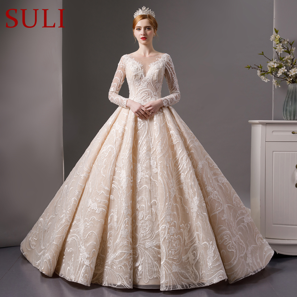 Full Sleeve Wedding Gown: SL 7012 Full Lace Beads Luxury Long Sleeves Ball Gown