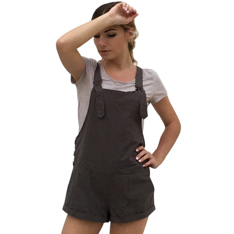 Women Button Dungarees Fit Solid Rompers High Waist Playsuit Shorts Polyester Solid Regu ...