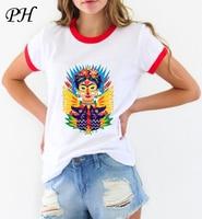 PyHenPH New T shirt for women frida kahlo print t shirt funny Tee shirt femme Ringer Short Sleeve O-Neck women roupas