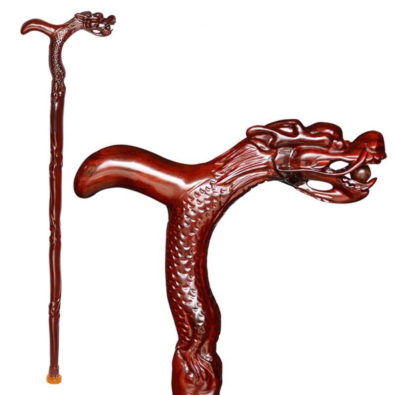 Sculpture artisanat tête de Dragon bâton de marche 100% bois massif extérieur palissandre béquille grand-père Folk vieille Canne chanceux anniversaire cadeau de noël