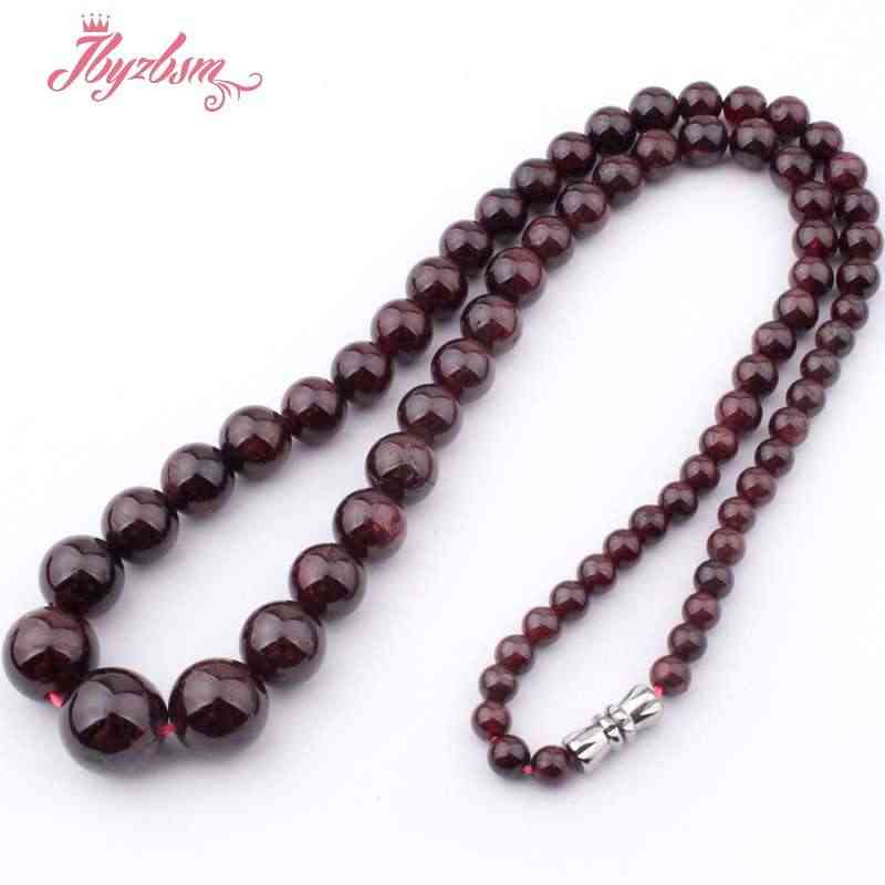 """Charming!5-11MM NATURAL GARNET ROUND BEADS NECKLACE 17/"""""""