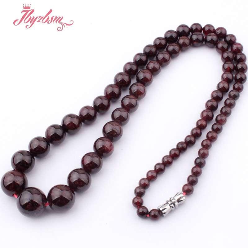 b53fe36b87 Mm-10 4mm Natural Red Garnet Beads Gem Pedra Redonda E Lisa Moda Colar  Estilo 17